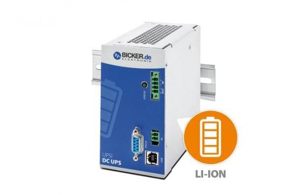 24V DIN rail DC UPS has integrated Li-Ion battery