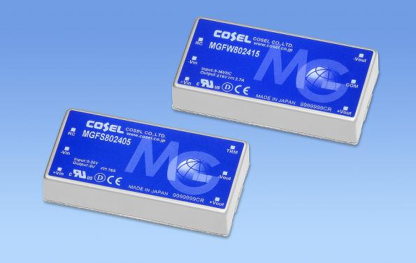 Cosel's 80W MGF80 DC-DC converter is packaged in in 2x1 inch potted metal case for harsh environments