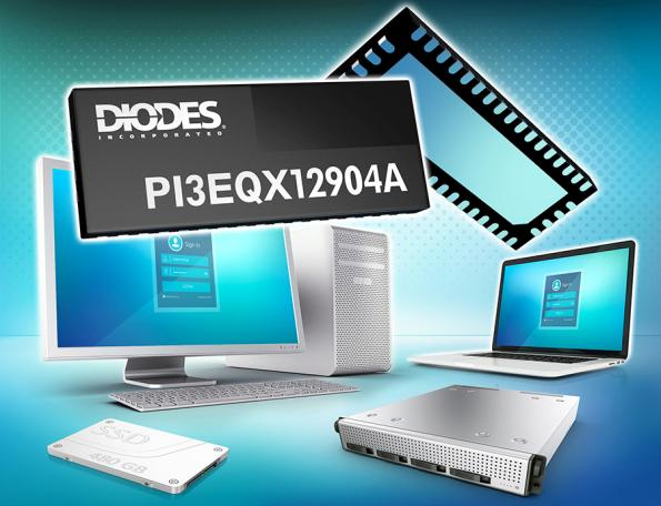 Diodes Incorporated has launched the PI3EQX12904A PCIe 3.0/SATA3 combo ReDriver with linear equalization that can support speeds up to 8Gbps.