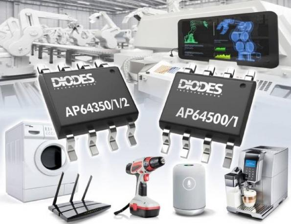 Five synchronous buck converters with integrated high- and low-side MOSFETs use proprietary gate drivers for improved EMI performance in step-down DC-DC converters