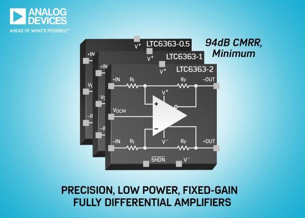 Amplificateurs différentiels à gain fixe, de grande précision