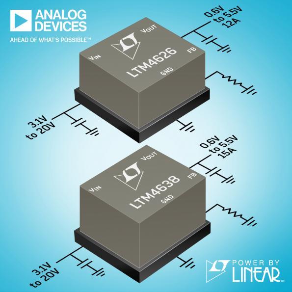Régulateurs Analog Devices μModule 12 A et 15 A en boîtier à billes