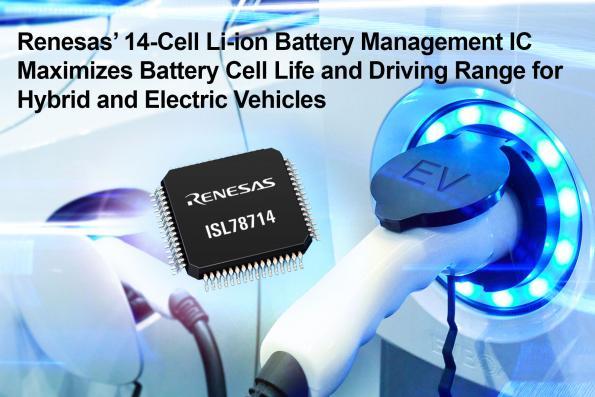 Circuit intégré dédié à la gestion de batterie Li-ion à 14 cellules