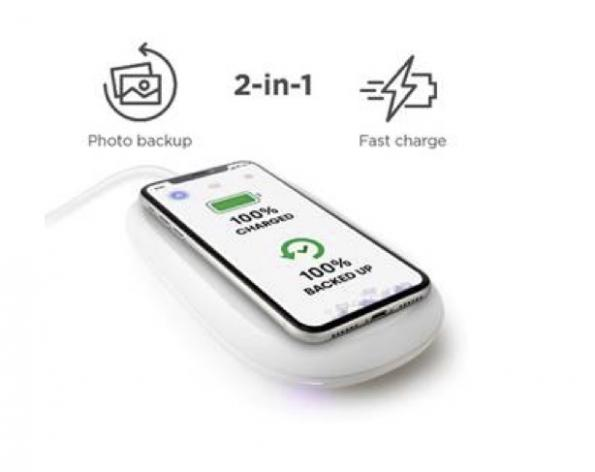 Chargeur de téléphone sans fil assurant une sauvegarde automatique des photos
