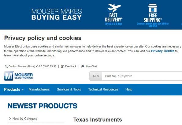 Mouser Electronics stocke la plus large sélection de composants Texas Instruments
