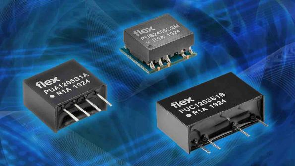 The PUA-A, PUC-B and PUB-M isolated DC-DCconverter ranges from Flex Power Modules have an output power of up to 1Wwith no minimum load.