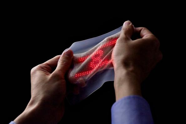 Biomedical sensors combine with stretchable display for skin electronics