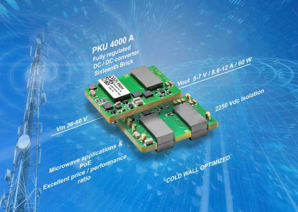 1/16th brick DC-DC converters for high-volume wireless and microwave designs