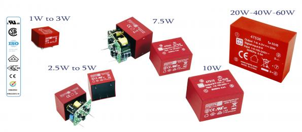 Range of 60W surface mount encapsulated Switch Mode Power Supplies in distribution