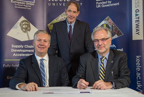 John Novac,Global Head of Distributed Energy Systems at Siemens, and Professor Trevor McMillan, Vice Chancellor of Keele University, with Keele Chancellor Sir Jonathon Porritt CBE.
