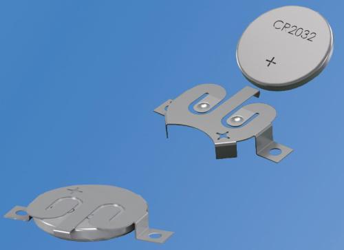 Dispositifs de retenue de pile bouton à bas profil avec verrouillage