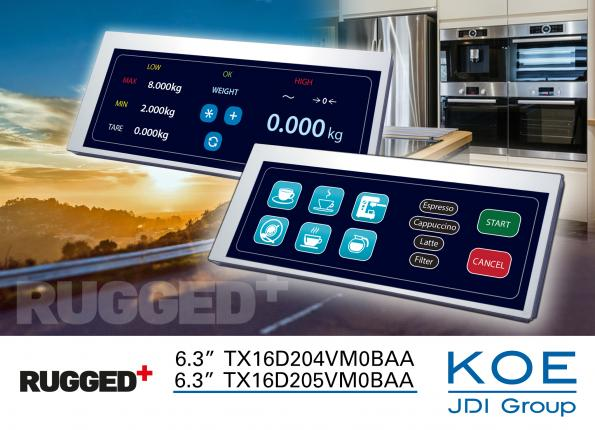 "Industrial LCD manufacturer KOE has introduced two new 6.3"" letter-box format TFT display modules for use in panel and rack-mounted equipment."