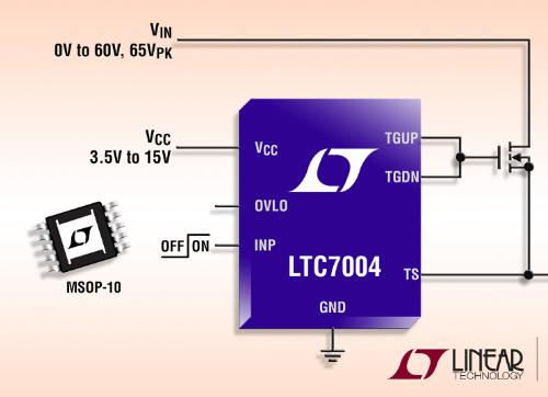 60V high side N-Channel MOSFET driver has 100% duty cycle