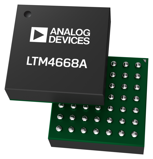 ADI's LTM4668 and LTM4668A µModule quad-output DC-DC converter modules measure 6.25mm × 6.25mm × 2.1mm for telecoms and industrial designs