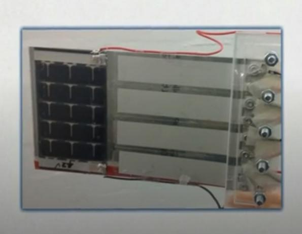 Flag generates power from both wind and solar energy