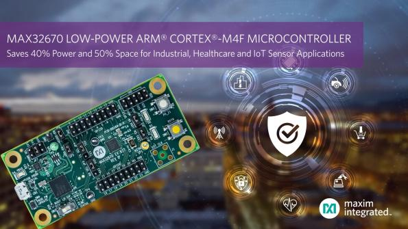 Maxim's MAX32670 low-power Arm Cortex-M4 MCU with floating-point unit reduces power consumption and size in industrial, healthcare and IoT applications.
