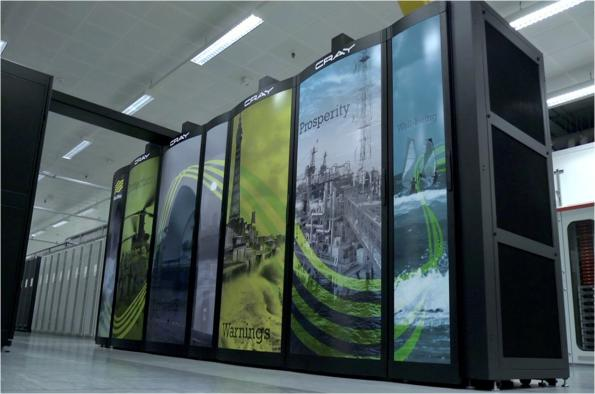 The current system of three Cray XC40 supercomputers has 460,000 compute cores capable of 14PFLOPS operations per second with 2Pbytes of memory and 24Pbytes of storage.