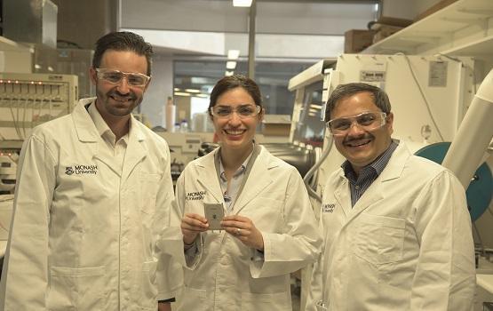 Associate Professor Matthew Hill, Dr Mahdokht Shaibani and Professor Mainak Majumder with the lithium-sulphur battery design.