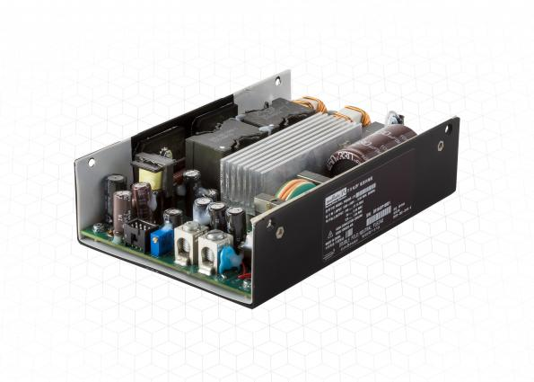 Murata's PQU650 650W open frame AC-DC converter has forced air- and convection-cooled ambient ratings.