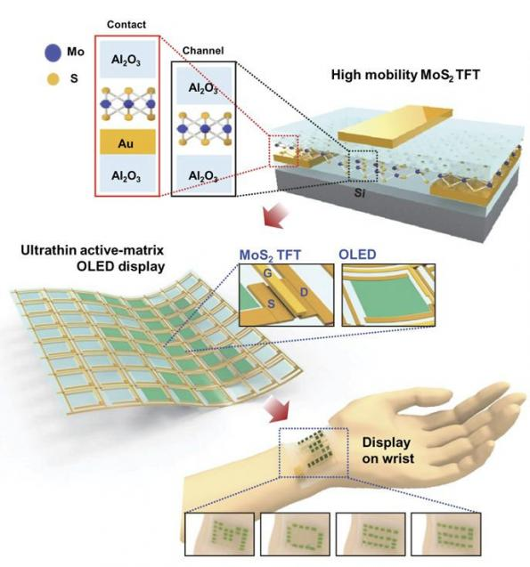 Aluminium oxide-capped MoS2 transistors for ultrathin OLED displays