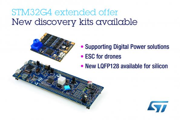 STMicroelectronics has added digital-power and motor-control Discovery Kits and new firmware for STM32G4 MCUs examples in STM32CubeG4 software package (v 1.1.0).
