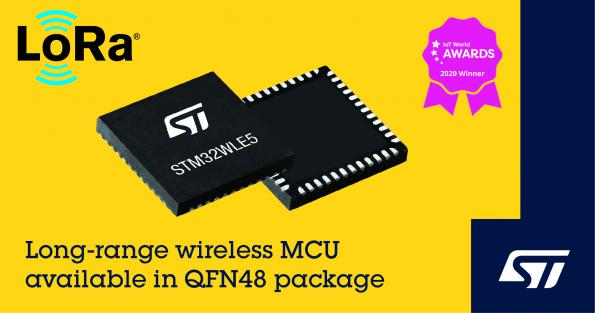 STMicroelectronics has added a QFN48 package option to the company's STM32WLE5 wireless SoC portfolio.