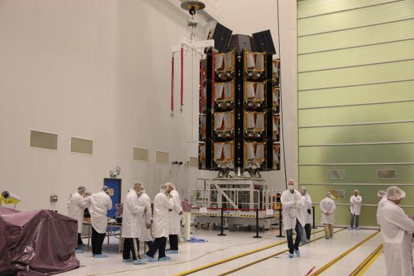 OneWeb launched 34 satellites from a huge dispenser at the start of its 648-strong network.