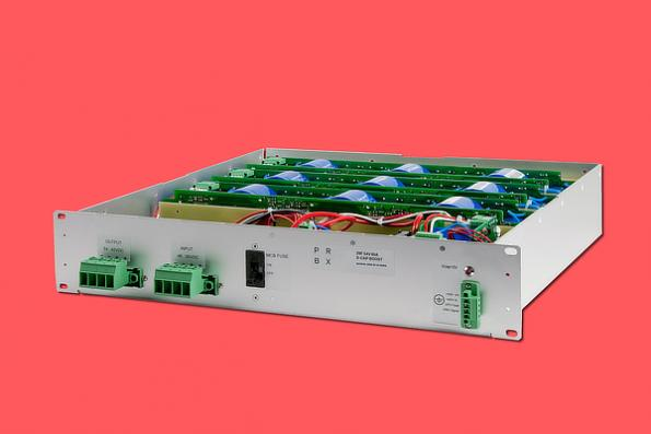 "Housed within a 19"" 2U chassis, the 29F-54V-60A integrates 22 supercapacitors, totalizing 29 Farad and a capacity of 2500W."