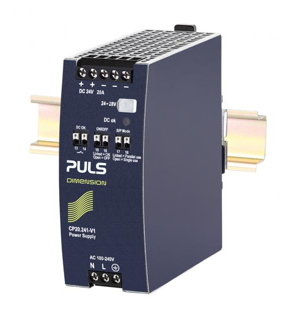 Remote control of Puls Power CP20.241-V1 DIN-rail power supply features simplifies centralised control of multiple system power supplies
