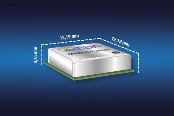 Recom's RPMB-3.0 3A DC-DC converter measures 12.19 x 12.19 x 3.75mm and has an adjustable output from 1-24V and input voltage up to 36V.