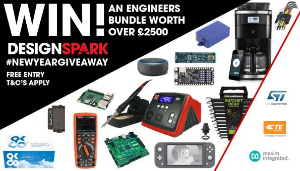 RS Components has teamed up with Maxim, STMicroelectronics and TE Connectivity to provide a DesignSpark member the chance to win a bundle of products worth over £2,500.
