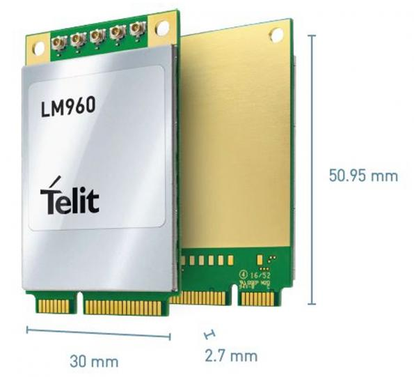 Rutronik is now stocking Telit's LM960A18 Mini PCIe (mPCIe) data card for high-speed data rates through Advanced LTE.