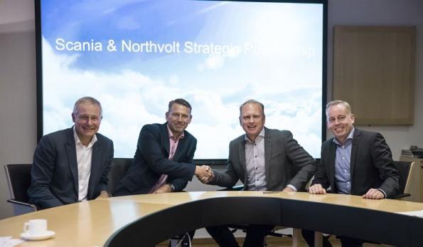 From left: Carl-Erik Lagercrantz, Chairman, Northvolt; Peter Carlsson, CEO, Northvolt; Henrik Herniksson, President and CEO, Scania; Claes Erixon, Executive Vice President, Head of Research and Development, Scania