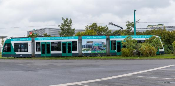 Fully automated depot has self-driving trams