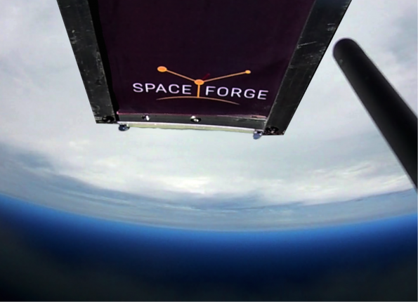 Visualisation of Space Forge's ForgeStar-1 manufacturing satellite