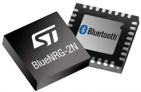 TheBlueNRG-2NBluetooth 5.0-certified network processor from ST Microelectronics eliminates the need for a separate microcontroller