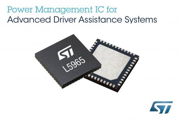 STMicroelectronics' L5965 is a seven-output automotive power-management IC (PMIC) that enables compact and reliable ECUs for in-vehicle applications.