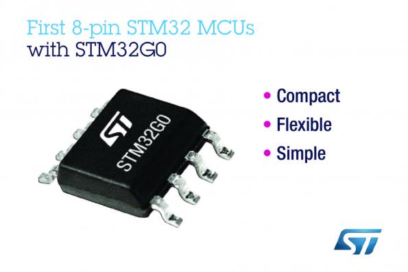 STMicroelectronics has launched a series of STM32 MCUs in an 8-pin package to provide simple embedded projects with 32-bit performance and flexibility in a small, cheap form factor.