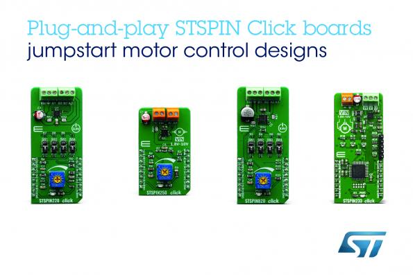 STMicroelectronics has worked with MikroElektronika to develop four Click boards that allow the use of STSPIN motor drivers beyond STM32-based designs.