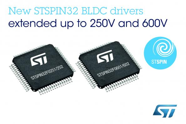 STMicroelectronics has added four devices to the company's STSPIN32F0 motor-control system-in-package series.