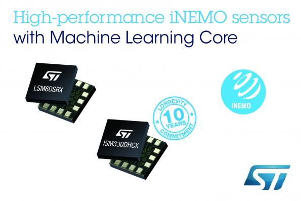 STMicroelectronics has incorporated the company's motion-detection machine-learning core (MLC) technologies in its ISM330DHCX and LSM6DSRX 6-axis iNEMO IMUs.