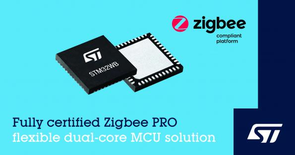 STMicroelectronics has added support for Zigbee 3.0 to the company's STM32WB55 range of wireless MCUs.