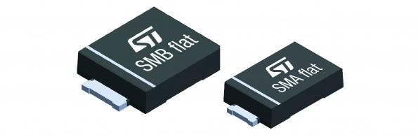 STMicroelectronics' transient voltage suppression TVS diodes handle 600W and 1500W transient power in SMB Flat, and 400W and 600W in SMA Flat packages that are just 1.0mm high.