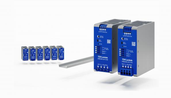 Three phase 120W and 240W DIN rail supplies have +20 percent peak power