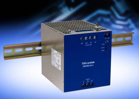 Compact 960W DIN rail supply has 95 percent efficiency