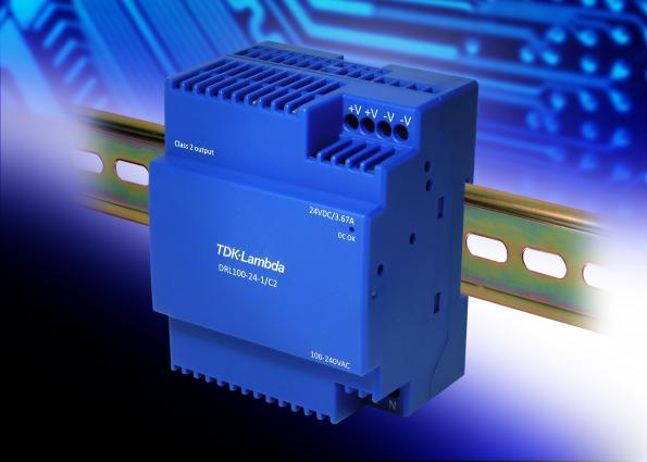 Low profile 88W DIN rail power supply for safety critical building automation and security
