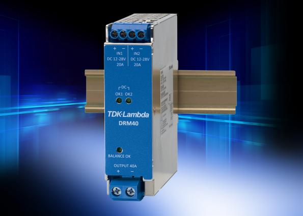 Low loss 40A DIN rail redundancy module has load sharing balance indicator