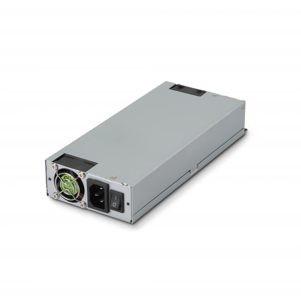 The TMPC-500-1U ATX AC-DC medical supply measures 220 mm x 100 mm x 40.5 mm and is supplied with input line fuse, overvoltage, overload, and short circuit protections.