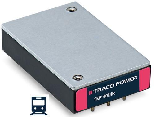 Convertisseurs DC/DC hautes performances de Traco Power 40 et 60 W pour le ferroviaire.