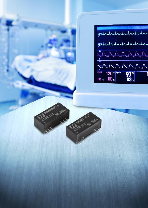 Compact SIP9 5W DC-DC converter has medical approvals
